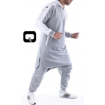 Qamis jogging court Qaba'il gris