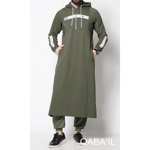 Qamis Long Capuche Jogging - Vortex II - Kaki - Qaba'il