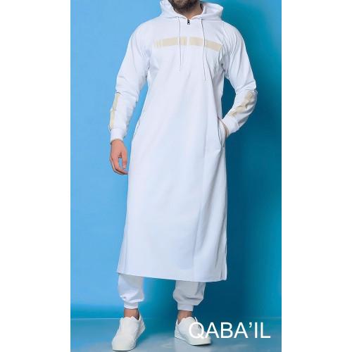 Qamis Long Capuche Jogging - Vortex - Blanc - Qaba'il