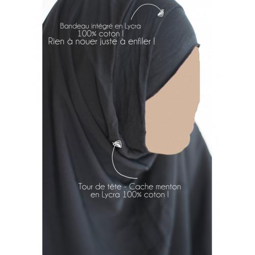 Hijab / Khimar Lycra - Gris Anthracite - Umm Hafsa