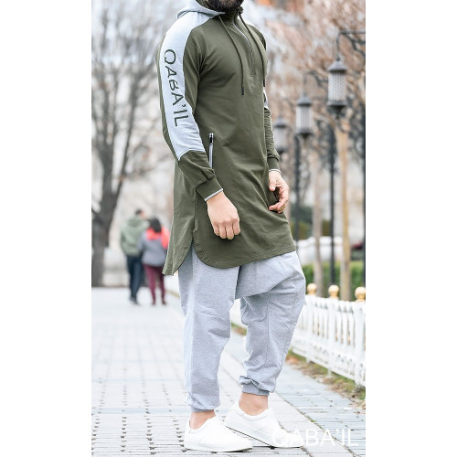 Qamis Qaba'il Blanc/gris jogging court