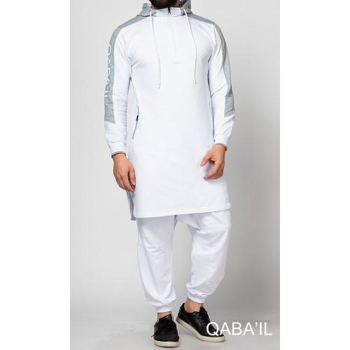 Qamis jogging court Qaba'il Blanc