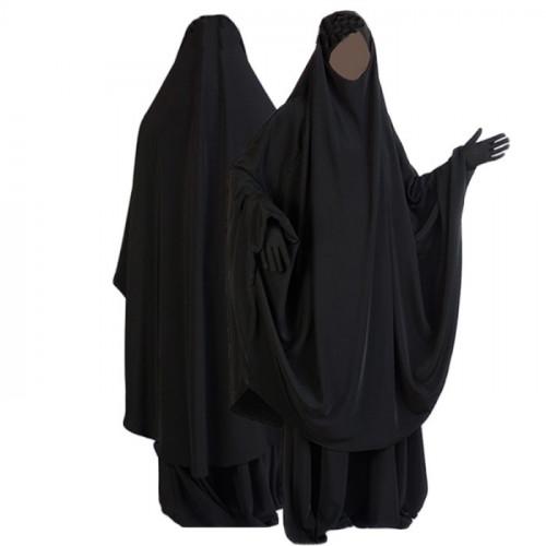 Jilbab al Manassik noir 2P cape+ jupe N01