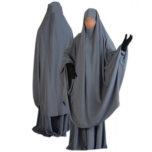 Jilbab al Manassik Gris 2P cape+ jupe N26