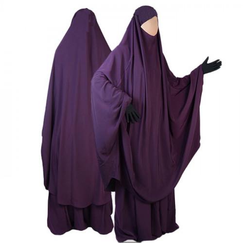Jilbab al Manassik Prune 2P cape+ jupe N19
