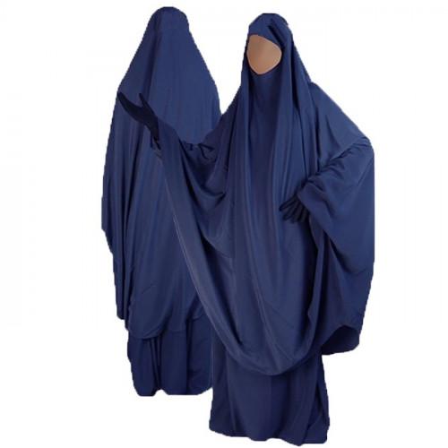Jilbab al Manassik Bleu Foncé 2P cape+ jupe N21