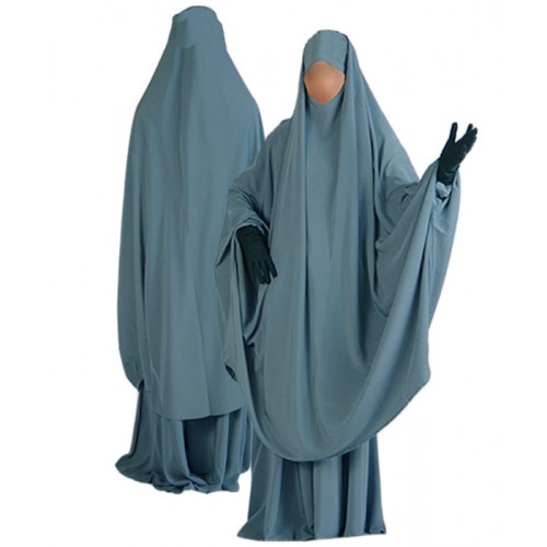 Jilbab al Manassik Bleu Pétrole 2P cape+ jupe N20