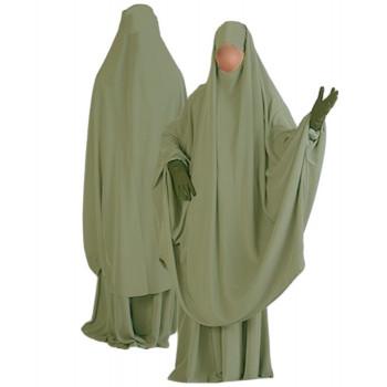 Jilbab al Manassik Vert Pistache 2P cape+ jupe N47