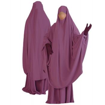 Jilbab al Manassik Mauve 2P cape+ jupe N33