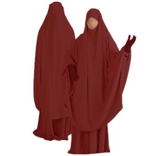 Jilbab al Manassik Bordeaux 2P cape+ jupe N38