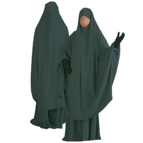 Jilbab al Manassik Vert Canard 2P cape+ jupe N07
