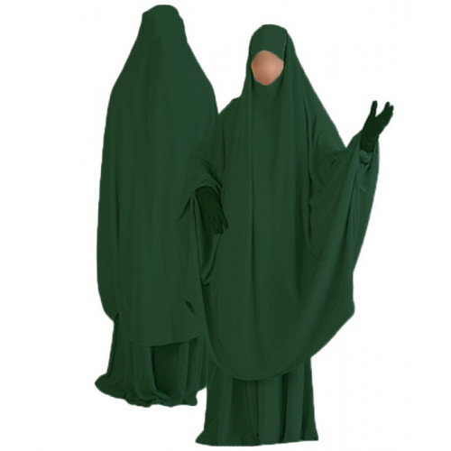 Jilbab al Manassik Vert Bouteille 2P cape+ jupe N10