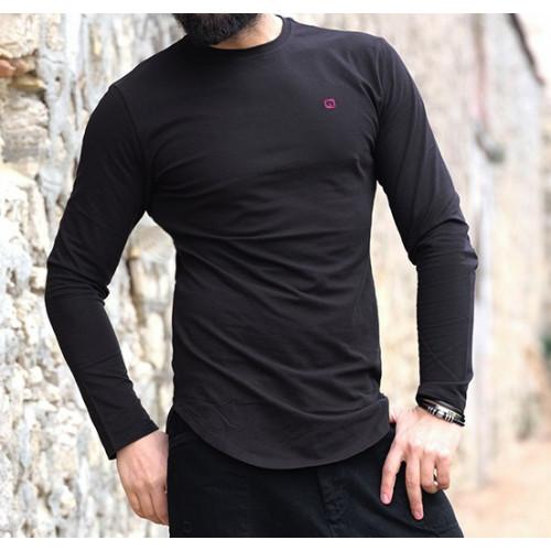 Sweat-Shirt Léger Noir Manches Longues Qaba'il