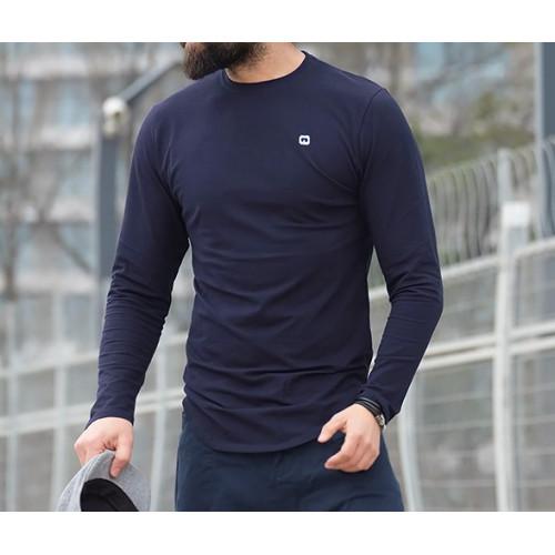 Sweat-Shirt Léger Bleu Nuit Manches Longues Qaba'il