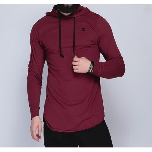 Sweat-Shirt Capuche Léger Bordeaux Manches Longues Qaba'il