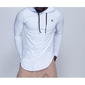 Sweat-Shirt Capuche Léger Blanc Manches Longues Qaba'il