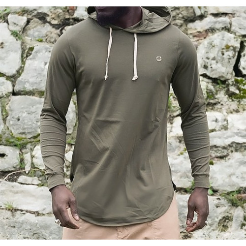 Sweat-Shirt Capuche Léger Kaki Manches Longues Qaba'il