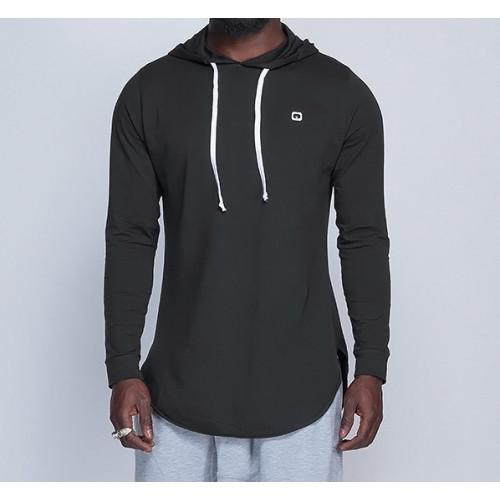 Sweat-Shirt Capuche Léger Noir Manches Longues Qaba'il