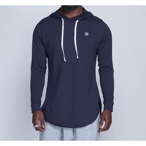 Sweat-Shirt Capuche Léger Bleu Nuit Manches Longues Qaba'il