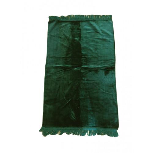Tapis De Prière Adulte - Couleur Vert Foncé Unie Sans Motifs - 67 x 118 cm