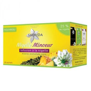 Nigelle Minceur - Infusion Minceur à la Nigelle à l'Ananas Aromatisée Coco - Saouda Nigelle Sativa - 20 Sachets