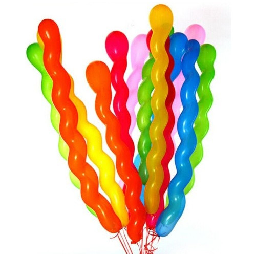 10 Ballons Multicolores - Forme Spirales