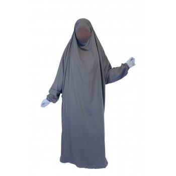 Jilbab 1P - Gris 17 - Wool Peach - Jilbeb El Bassira - 6801-B