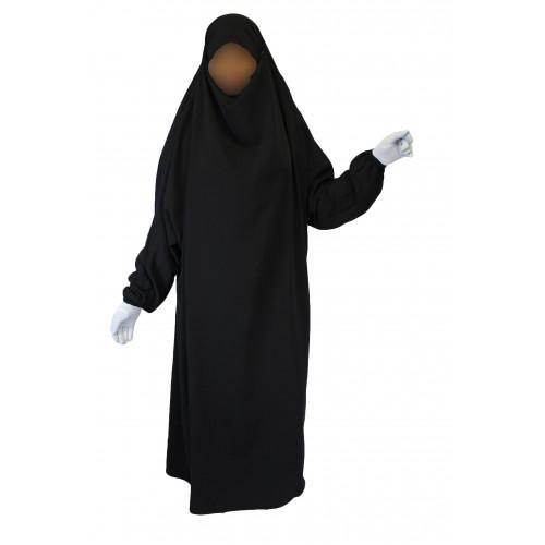 Jilbab 1P - Noir 1 - Wool Peach - Jilbeb El Bassira - 3853-B