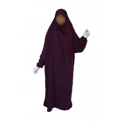 Jilbab 1P - Aubergine 109 - Wool Peach - Jilbeb El Bassira - 4991-B