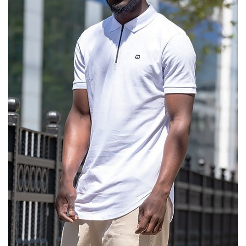 Polo Zip - Blanc - Manche Courte - Qaba il