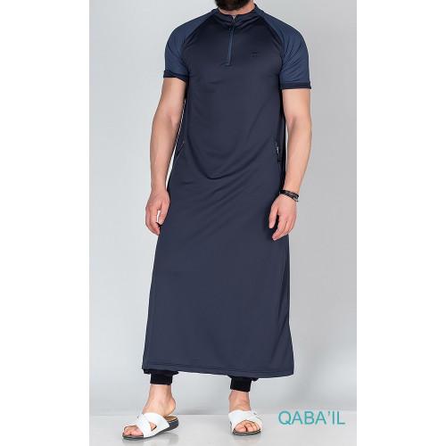 Qamis Longline Léger - Bleu Nuit - Manche Courte - Qaba'il