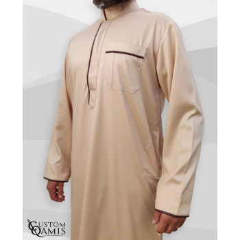 Qamis Edge - Tissu Precious Beige Satin et Marron - Custom Qamis