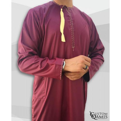 Qamis Two Tone - Col Chemise - Tissu Precious Gris Satin et Noir - Custom Qamis
