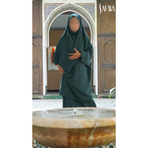 Jilbab Enfant - Vert Canard - Safwa
