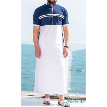 Qamis Navy II - Blanc et Bleu - Manche Courte - Qaba'il
