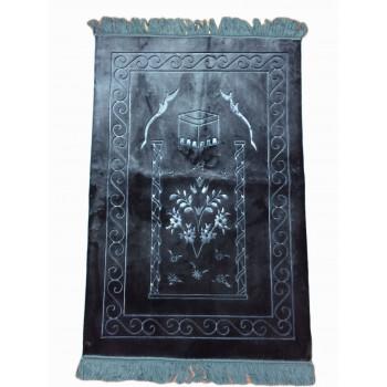 Grand Tapis de Prière - Bleu Pétrole - Motif Mekka - Molletonné, Épais et Trés Doux - Confortable et Anti-Dérapant