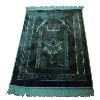 Grand Tapis de Prière - Vert Bouteille - Motif Mekka - Molletonné, Épais et Trés Doux - Confortable et Anti-Dérapant