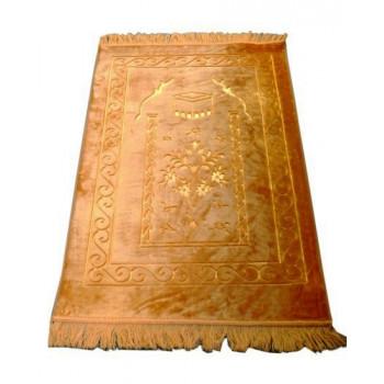 Grand Tapis de Prière - Jaune - Motif Mekka - Molletonné, Épais et Trés Doux - Confortable et Anti-Dérapant