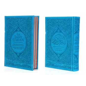 Le Saint Coran Arc en Ciel - Arabe / Français / Phonétique - Edition De Luxe - Couverture En Daim Couleur Bleu