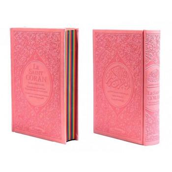 Le Saint Coran Arc en Ciel - Arabe / Français / Phonétique - Edition De Luxe - Couverture En Daim Couleur Rose Pâle