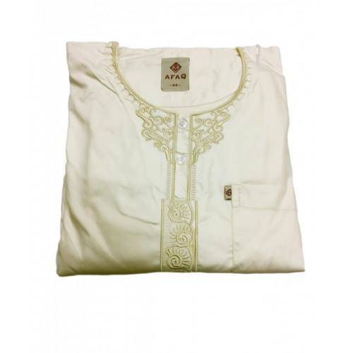 Qamis Enfants - Blanc Crème - Manche Longue - Sans Col - Tissu Glacé - Afaq - 6971