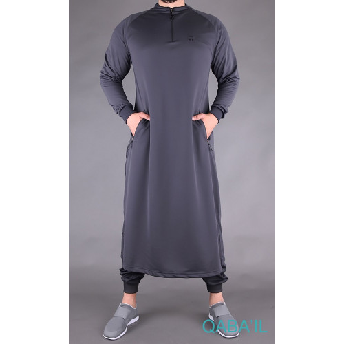 Qamis Long Longline - Gris Anhtracite - Qaba'il
