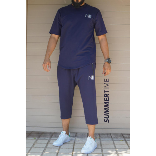 Ensemble Hybrid Lycra - Bleu - T-Shirt Oversize - Saroual Djazairi - Na3im
