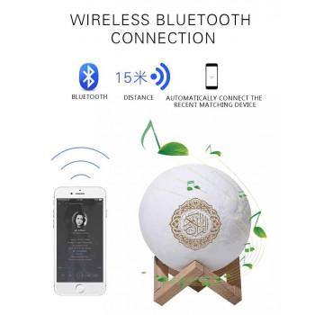 Veilleuse Lune Coranique MP3 - Bluetooth et Télécommande - Moon Lamp Qur'an - Equantu