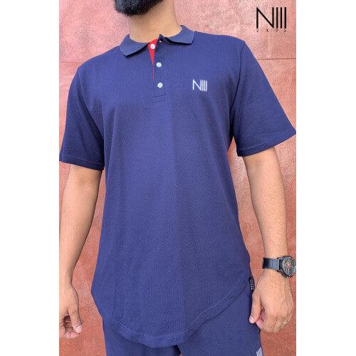 POLO Iceberg Coton Piqué 100% Coton - Bleu Nuit - T-Shirt Oversize - Na3im