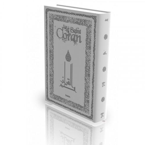 Le Coran - Arabe et Français - Couverture Rigide Gris Clair - Haute Gamme avec Bord Dorée - Simili-Daim - Edition Sana