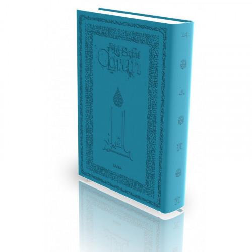 Le Coran - Arabe et Français - Couverture Rigide Turquoise - Haute Gamme avec Bord Dorée - Simili-Daim - Edition Sana