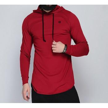 Sweat-Shirt Capuche Léger Rouge Cerise Manches Longues Qaba'il