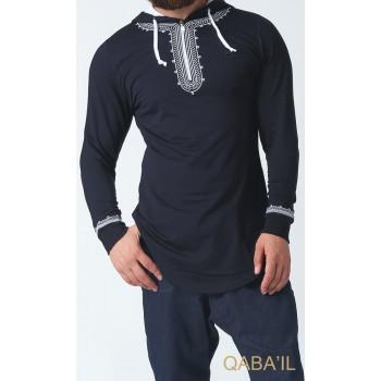 Sweat-Shirt Léger Bleu Nuit Broderie Oriental Manches Longues Qaba'il