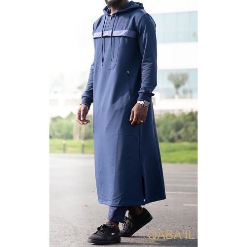 Qamis Long Capuche Jogging - Furtif - Indigo - Qaba'il